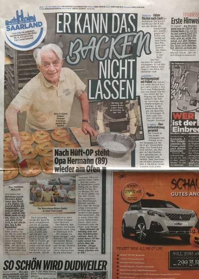 Zeitungsbericht der Bild-Zeitung über Uropa Hermann - Er kann das das Backen nicht lassen